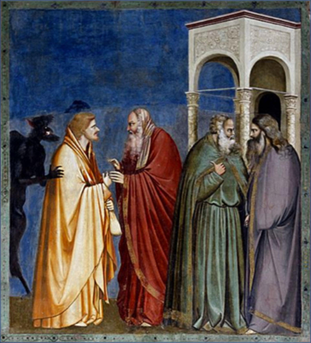 Judas receives payment for betrayal (Giotto, Scrovegni Chapel, 1304-1306)